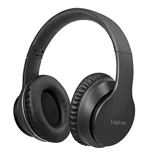 LogiLink BT0053 - Bluetooth V5.0 Active-Noise-Cancelling (ANC) Headset/Kopfhörer mit aktiver Lärmunterdrückung und Schutz- Transportbox, Over Ear, Schwarz