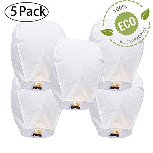 GCOA 5 Pack Lanterne Cinesi del Cielo - Eco Amichevole, Lanterna di Carta Resistente al Fuoco Senza Fili 100% biodegradabile al Rilascio in Cielo (Set di 5, Bianco)