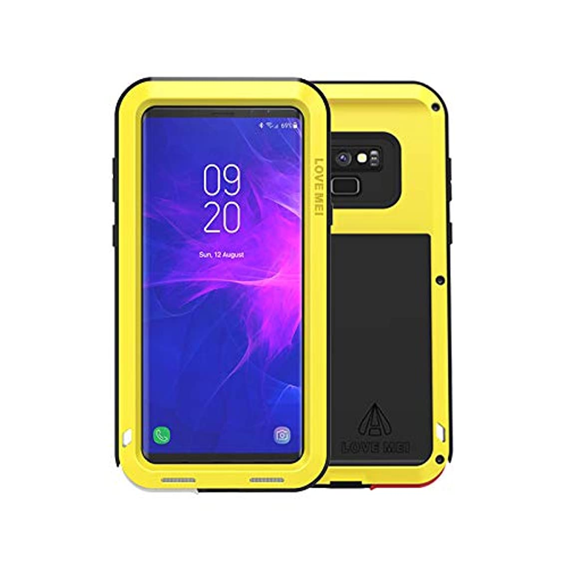 Love MEI Waterproof Case for Samsung Galaxy Note 9 Armored Metal Aluminum Shell Case Water/Dirt/Shock/Snowproof Lovemei Cover (Yellow)