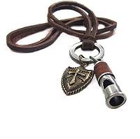 Original Tribe 調節可能な茶色の革、合金ペンダントネックレスの男の子 さんのネックレスニュートラルネックレスファッションネックレス PL0217