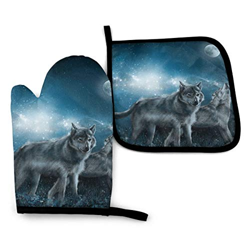 VGFJHNDF Wolf in The Moonlight Oven Mitts and Pot Holders,Resistant Hot Pads with Polyester Non-Slip BBQ Gloves for Kitchen,Cooking,Baking,Grilling