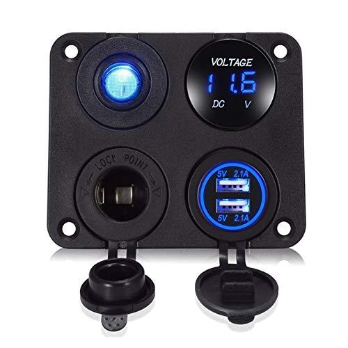 RJJX 12V-24V Multifinction 4 en 1 Panel de Cargador de automóviles Dual USB Impermeable Cigarrillo Encendedor de Cigarrillos Splitter para Motocicleta de camión de automóviles
