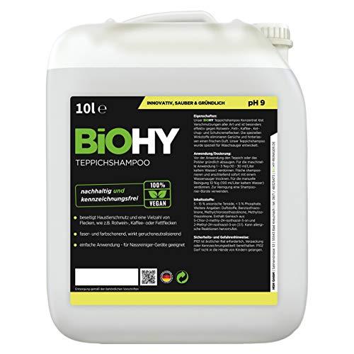 BiOHY Teppichshampoo (10l Kanister) | Teppichreiniger ideal zur Entfernung von hartnäckigen Flecken | SPEZIELL FÜR WASCHSAUGER ENTWICKELT