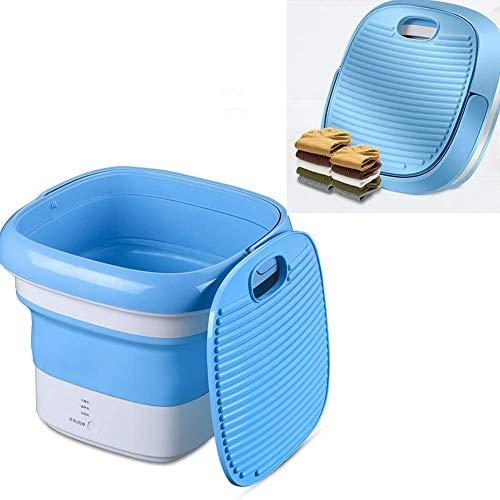unknow Mechanische Waschmaschine Tragbare Waschmaschine Kleine Waschmaschine Unterwäsche Waschmaschine Schlafsaal für Reisen und Camping (Weiß Blau, 10 Liter)
