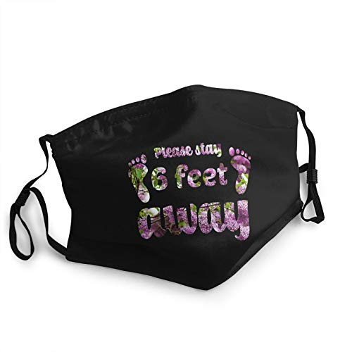 Unisex Masks Please Stay 6 Feet Away Hanging Ear Windproof Mask Balaclavas Black