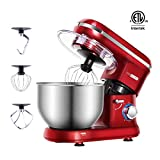 VIVOHOME Electric 650W 6-Speed Tilt-Head Stand Mixer with 6 Quart Stainless Bowl Red