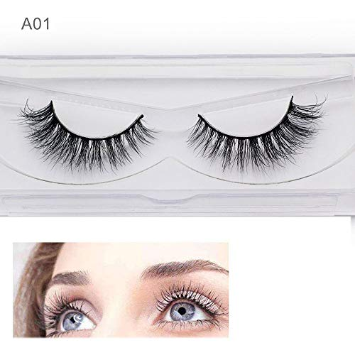Cils de Vison 3D Professionnels épais naturels épais Faux Cils Maquillage Extension léger à la Main (1 Paire)