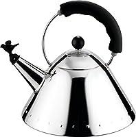 alessi 9093 b bollitore con manico e fischietto a uccellino di design in acciaio inox, nero