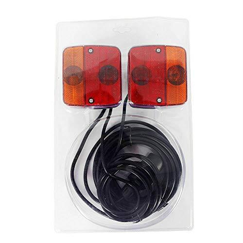 2x Auto Blink Rückleuchten Bremslicht Rücklicht Anhänger Lichter Schlussleuchte Rückleuchten-Set verkabelt +7,5m Fahrzeugkabel Anhängerbeleuchtung