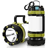 Wsky Rechargeable Camping Lantern Camp Light Camping Lamp - T2000 High Lumen, 6 Modes, High Capacity Power Bank - Best Lantern Flashlight for Camping, Outdoor, Hurricane, Emergency
