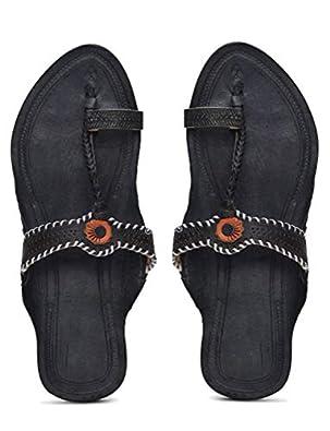 KALAPURI� Ladies Kolhapuri Chappal in Genuine Leather with Black Pointed Shape Base and Tiny Black Upper. Handmade in Kolhapur