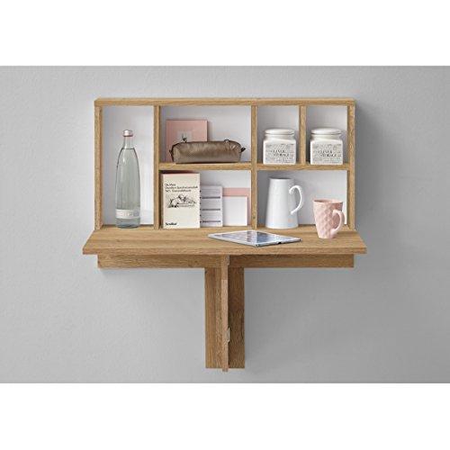 PEGANE Table Pliante Coloris chêne Ancien/Blanc - Dim : 80 x 83,2 x 50,4 cm