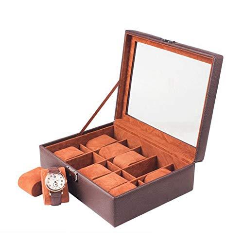 Yaju Uhrenbox mit, Einfache und Elegante 10-Fach-Uhrenvitrine, Uhrengehäuse mit Glasabdeckung, Uhrenständer mit abnehmbarem Sitzkisse