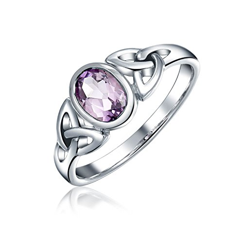 Amethyst Purple Celtic Trinity Knot Triquetra Ring For Women For Teen 1MM Band 925 Sterling Silver February Birthstone