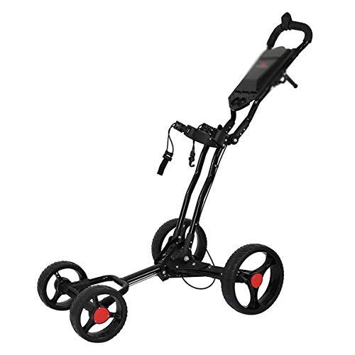 HYDL Golfwagen Golftrolley klappbar Trolley 4 Räder Trolly mit Regenschirmhalter für Golf Golfbag, Golfcart aus Aluminium, Super leicht und einfach klappbar,Schwarz