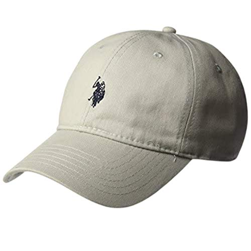 Concept One U.S. Polo ASSN. Mens Washed Twill Cotton Adjustable Baseball Hat with Pony Logo and Curved Brim, Grey, One Size