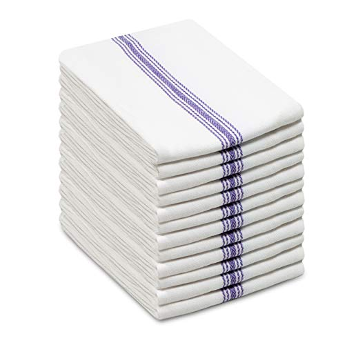 COTTON CRAFT Scandia Stripe Set of 12 Pure Cotton Multipurpose Low Lint Kitchen Towels, White and Blue