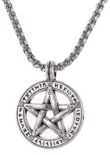 VASSAGO Wikinger 24 Runen Pentagramm Anhänger Halskette Amulett Stern Charm Gliederkette Halsketten Wicca Schmuck für Damen und Herren 61 cm