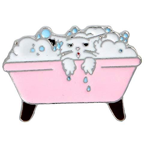 Angoter Cartoon-Katze Brosche Badewanne Kinder Kleiden Schmuck Brosche Abzeichen Zubehör Breastpin Für Frauen