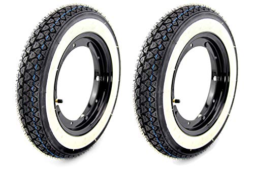 SET 2x Komplettrad Kenda Weißwand Reifen 3.00 x 10 Zoll mit Felge schwarz glänzend