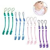 Gearmax Baby Schnullerband 12er Nuckelketten Junge Mädchen Schnullerketten für Schnur Lätzchen Dreieckstuch mit Clip