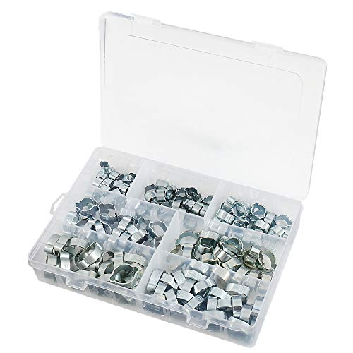 140 piezas doble oreja o clips tubo abrazaderas acero inoxidable gasolina aire agua fusible manguera clips de acero surtido 7 tamaños