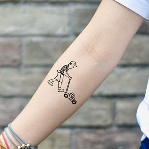 Lawn Mower Temporary Tattoo Sticker (Set of 2) - www.ohmytat.com