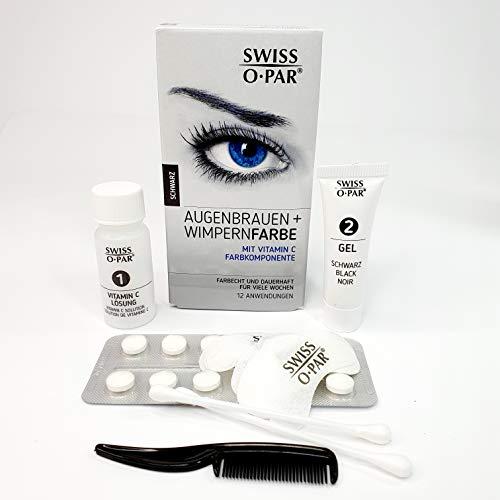 Tintura per ciglia e sopracciglia 2.0 di Swiss o-Par, kit per colorazione ciglia e sopracciglia, tinta di colorazione completo sufficiente per 10-12 applicazioni (nero)