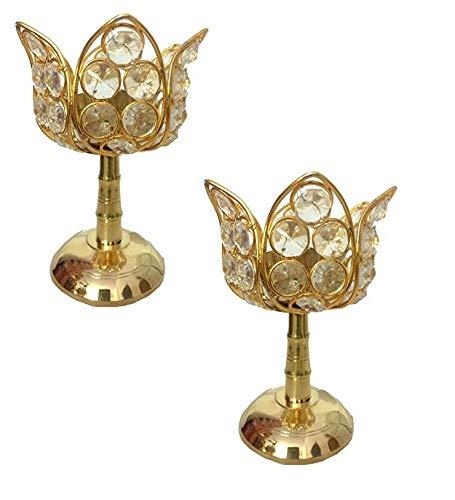 Akhand Diya Lotusform | Dekorative Messing-Kristall-Öllampe | Puja-Lampe | Diamant-Kristall Deepak/Durchmesser | (11,4 x 11,4 x 15,2 cm)
