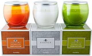 Essenza 3-pack Luxury Candle Set, Tangerine Zest & Mango, Driftwood & Vanilla bean, Mahogany leaf & leather
