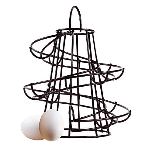 hehsd0 Eierregal, Spiralform, Metall, modernes Design, freistehendes Ei-Spender, ideal für die Aufbewahrung von Eiern in der Küche, Nicht Null, Schwarz, Free Size
