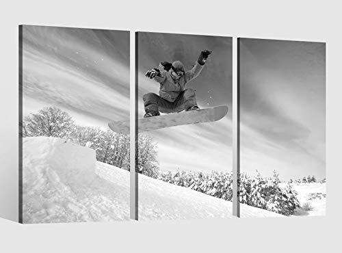 Leinwandbild 3 tlg schwarz Winter Sport Snowboarder Snowboard Schnee Bild Leinwand Leinwandbilder Wand mehrteilig gerahmt 9BE730, 3 tlg BxH:120x80cm (3Stk 40x 80cm)