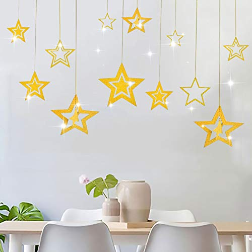 Cestor 3 Packs Glitter Star Garland Pendant Twinkle Little Star Party Decoration 3D Star Hanging Bunting Banner for Birthday Wedding Bridal Baby Showers Christmas,Gold