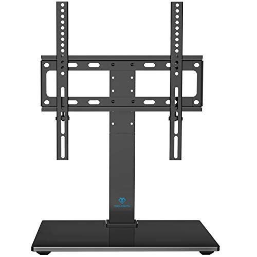 PERLESMITH Universal Swivel TV Stand  Table Top TV Stand for 2655 Inch LCD LED TVs  Height Adjustable TV Mount Stand with Tempered Glass Base VESA 400x400mm Holds Up to 88lbs