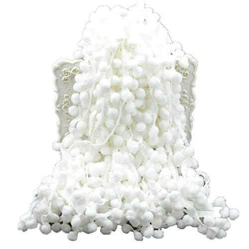 Anjing Cinta de Costura con Flecos y borlas de Encaje Bordado, 60 pies, Color Blanco
