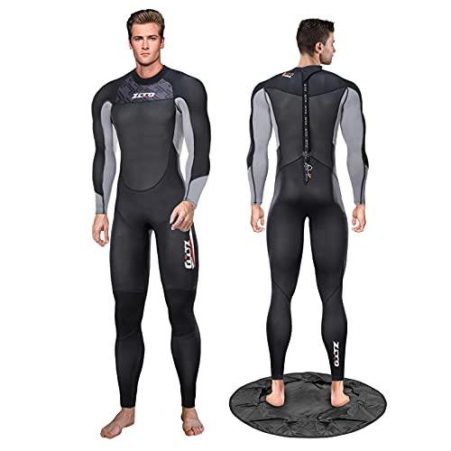 Traje de neopreno para hombre de 3 mm con cambiador de cuerpo completo con cremallera trasera, adecuado para hombres y mujeres, surf, esnórquel, buceo, natación (M, hombres)