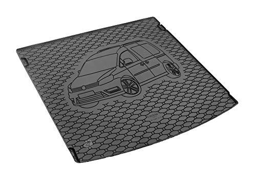 Passgenau Kofferraumwanne geeignet für VW Caddy 5-Sitze ab 2005 ideal angepasst schwarz Kofferraummatte + Gurtschoner