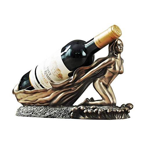 Botellero Titular de almacenamiento del vino europeo de belleza gabinete del vino Decoración botella de vino del estante del vino Resina Bar Inicio estante del vino encimera Gabinete Bodega de vino