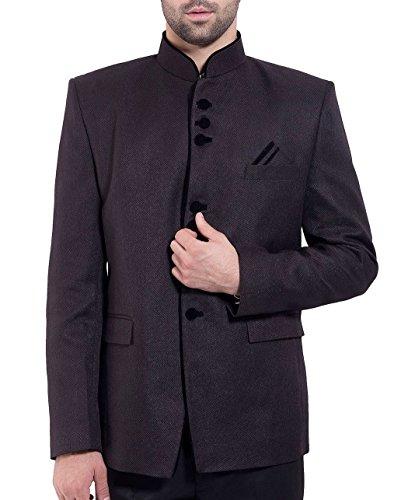 WINTAGE Men's Rayon Cotton Bandhgala Festive Black Nehru Mandarin Blazer