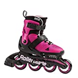 Rollerblade Microblade Girl's Adjustable Fitness Inline Skate, Pink and Bubble Gum, Junior, Youth Performance Inline Skates, Youth, Junior 5 to 8