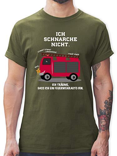 Comic Shirts - Ich schnarche Nicht. Ich träume DASS ich EIN Feuerwehrauto Bin - M - Army Grün - Feuerwehr Shirts - L190 - Tshirt Herren und Männer T-Shirts