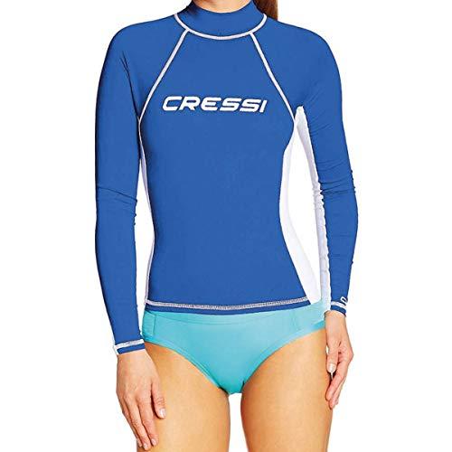 Cressi Rash Guard Lady Long Camiseta de Manga Larga con Filtro de protección UV UPF 50+, Mujer, Azul Royal/Blanco, XL/5 (44)