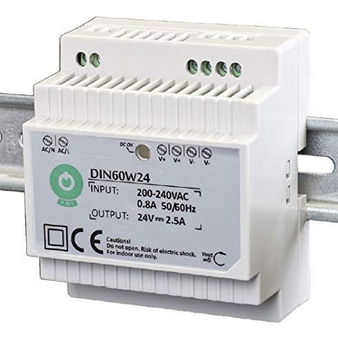 POS profesional Carril Fuente Transformador LED 24V DC 2.5a 60W, constante, CE, protección de cocinas: cortocircuito, de tensión, sobrecalentamientos.. Productos para LED 24V DC