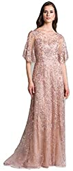 Mauve Lara 33277 Cape Sleeves lace Column Dress