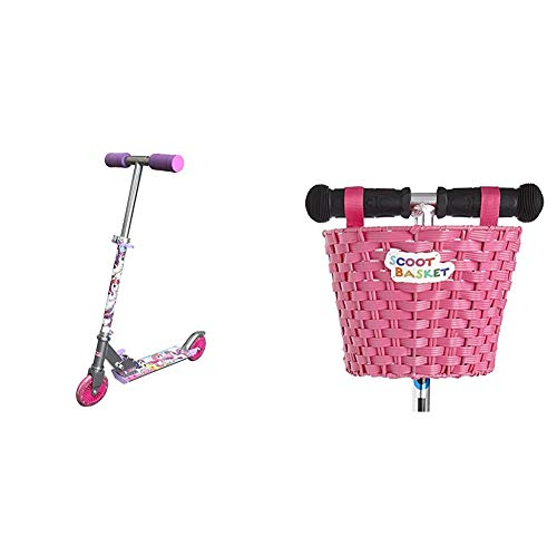 Ozbozz SV13988 Unicorn Scooter with 2 Light up Wheels & Scoot Basket: Pink