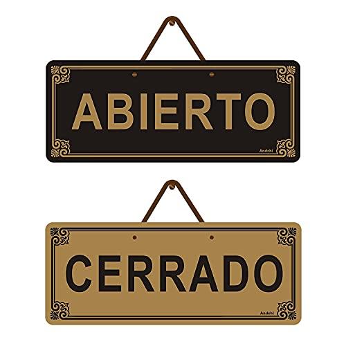 Andchi Abierto & Cerrado Letrero de puerta colgante, Letrero de puerta de metal de doble cara, Letrero de metal de aluminio, 25 x 10 cm, inoxidable, sin decoloración