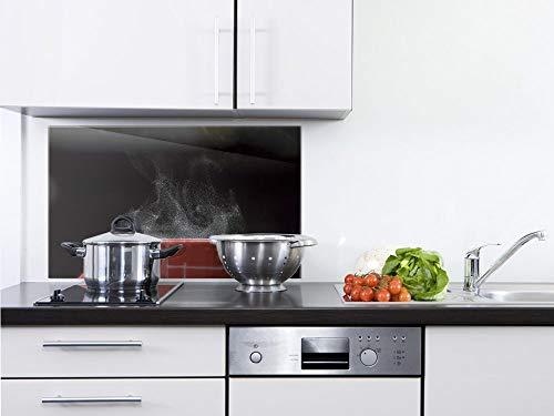 GRAZDesign Küchenrückwand Glas Küchenbilder - Wandpaneele Dampfende Tasse - Fliesenspiegel Schwarz/Rot / 100x50cm