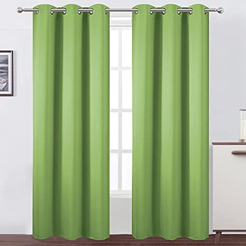 LEMOMO Light Green Blackout Curtains/42 x 84 Inch/Set of Two Panels Grommet Bedroom Curtains