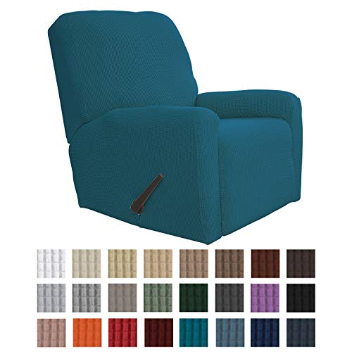 Easy-Going Recliner Stretch Sofa Slipcover Sofa Cover 4-Pieces Furniture Protector Couch Soft with Elastic Bottom Kids, Spandex Jacquard Fabric Small Checks(Recliner,Peacock Blue)