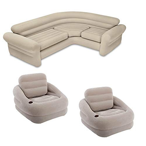 Intex Inflatable Khaki Accent Chair with Cup Holder & Water Base (2 Pack) & Sofa
